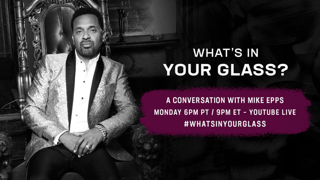 Get ready for the laughs when @TheRealMikeEppsdrops in on the next What's In Your Glass. Monday 7/13 at 6pm PT/9pm ET YouTube Live. https://t.co/lxNFPVQmUO #WhatsInYourGlass #StayMe7o https://t.co/bkaolMLokP