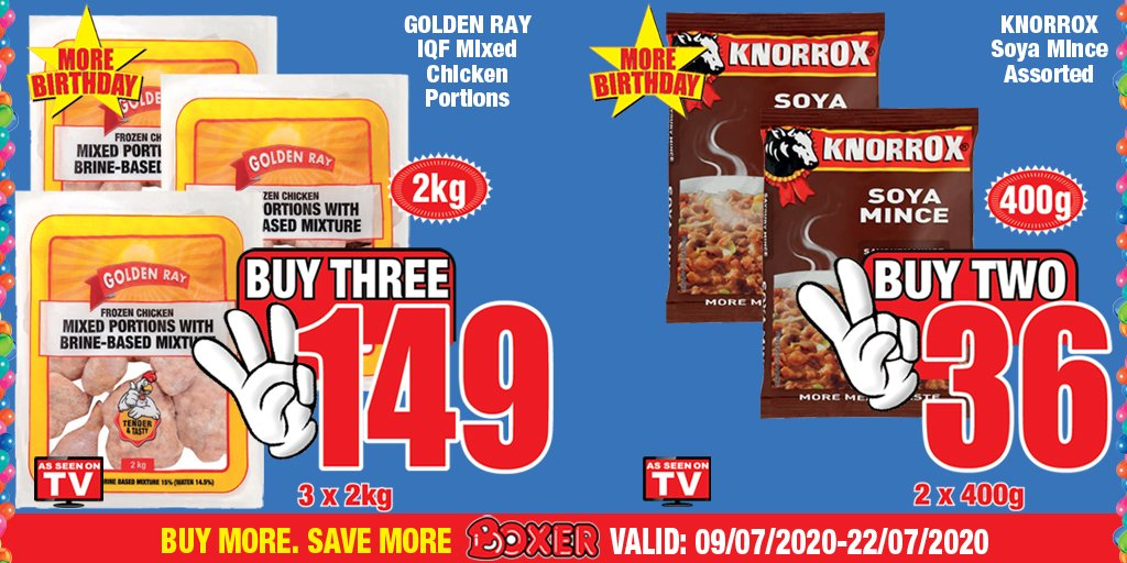 MORE BOXER BIRTHDAY! Spend R300 or more and get a R20 eCoupon to use between 22 July & 9th August when you buy promotional items in-store! Get these and more at your nearest Boxer store! https://t.co/5ctlxmviFp