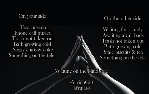 Waiting on the blind side  Insta: https://rb.gy/wtpqwl  #poetsoftwitter #poetsofinstagram #LGBTQoftwitter  #poemoftheday #poem #poetrycommunity#poetry #QuarentineLife #Writerspic.twitter.com/zeJccLIGQx