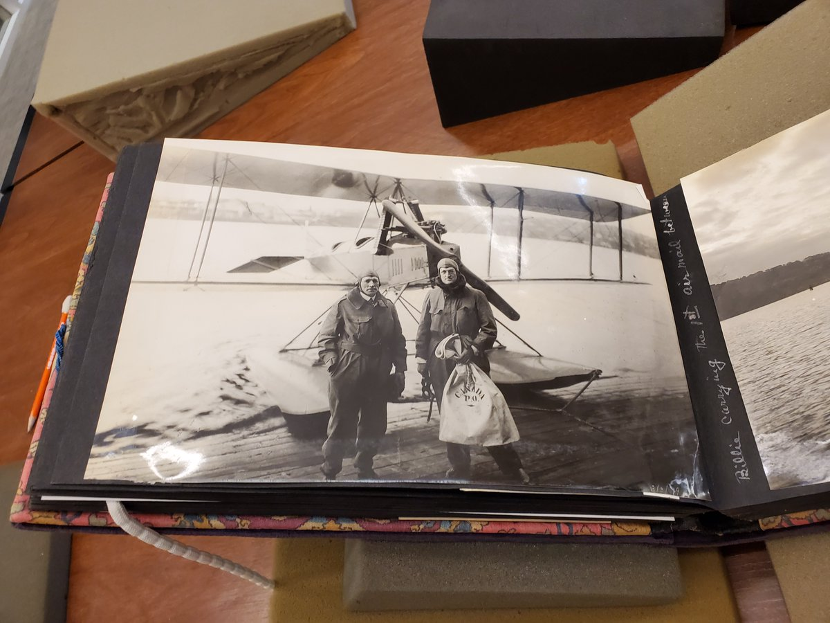 The #CarolineBoeingPoole collection @TheAutry strikes again for the latest #CURATORBATTLE! Two men, one small plane, and a modest sack of letters is our unassuming #TremendousTransport winner. An image taken before the first airmail between the U.S. and Canada. #ArchivingWomenpic.twitter.com/bUbL2AJqUB