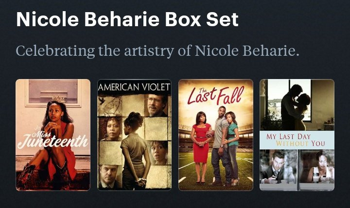 It doesn't exist yet, but whenever it does... I will definitely buy the Nicole Beharie DVD / digital box set. Investing in Black cinema is a worthy endeavor. Special editions are treasures. 🎥💙 https://t.co/isBuzVmHkv