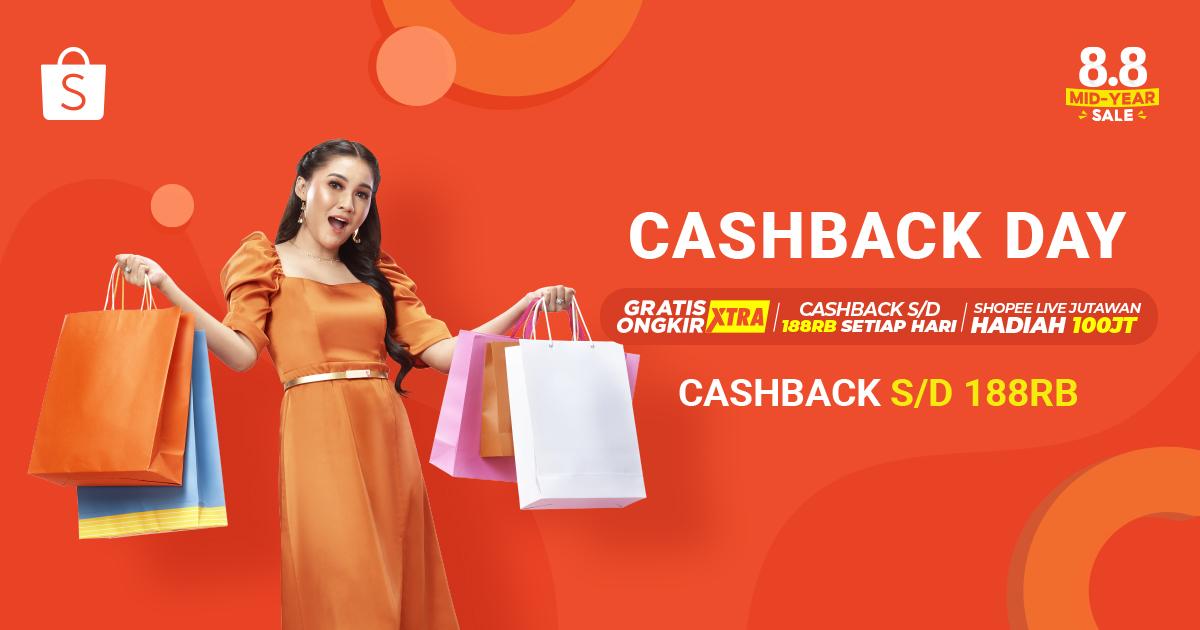 HARI INI di 8.8 Mid Year Sale ada Cashback Day! 😎 Belanja produk kesukaanmu & dapatkan CASHBACK s/d 188 RIBU! Nikmati juga GRATIS ONGKIR XTRA, dan ikutin Shopee Live Jutawan dan dapatkan HADIAH hingga 100JUTA! ✨ Cek di sini 👉🏻 https://t.co/RWrCUSxMZI   #ShopeeID #88MidYearSale https://t.co/1XgMVTOddy