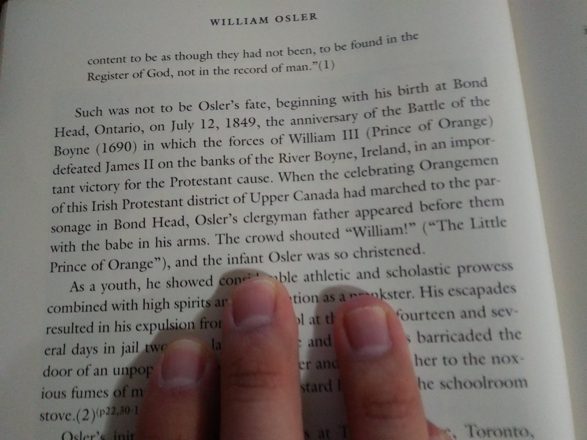 Sir William Osler was born on July 12, 1849. Very interesting he was named thanks to the anniversary of the Battle of the Boyne (1690), in which the forces of William III defeated James II. Happy birthday # 171. I love history😃❤️ @OslerResidency @sanjayvdesai @ErinMichos