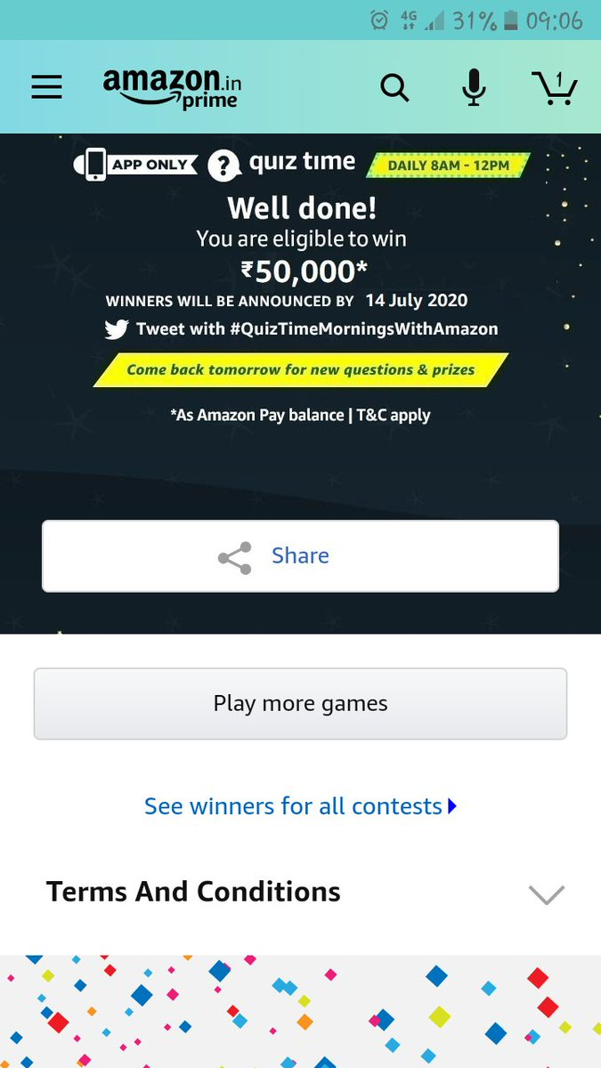 #QuizTimeMorningsWithAmazon I am eligible to win Rs 50,000 as Amazon Pay Balance. Please find the attached screenshot towards Amazon daily Quiz Contest for 13th July 2020.  I hope that this time I will be the winner. Fingers crossed Love you @amazonIN pic.twitter.com/UnqfAFoAcn