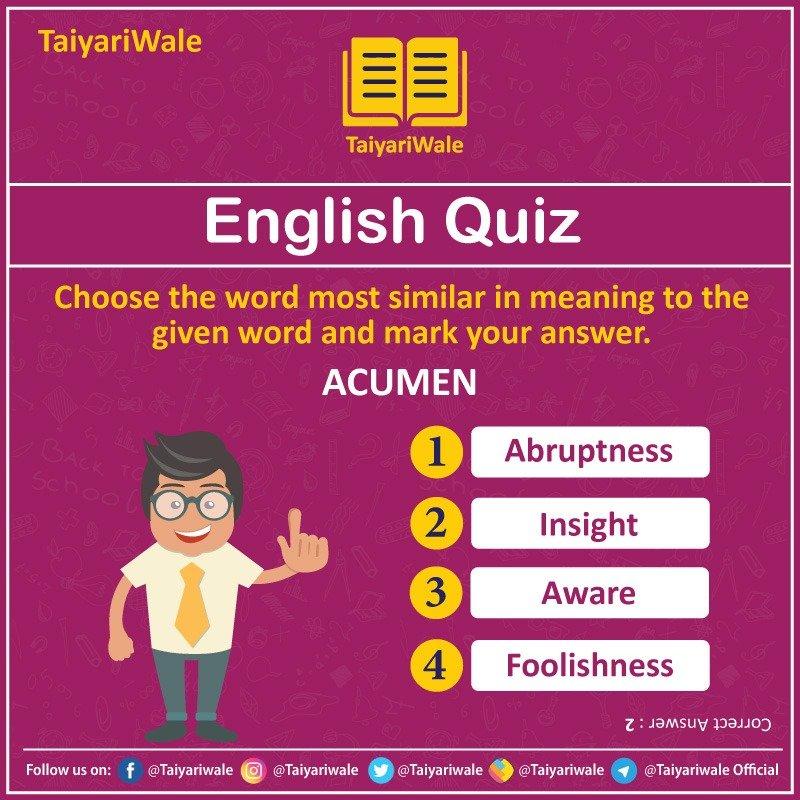 Check your English-Knowledge 👆🏻  #EnglishQuiz #Quiz #EnglishLanguage #taiyariwale  सरकारी नौकरी की तैयारी हमारी जिम्मेदारी https://t.co/JQb34Gr3jw