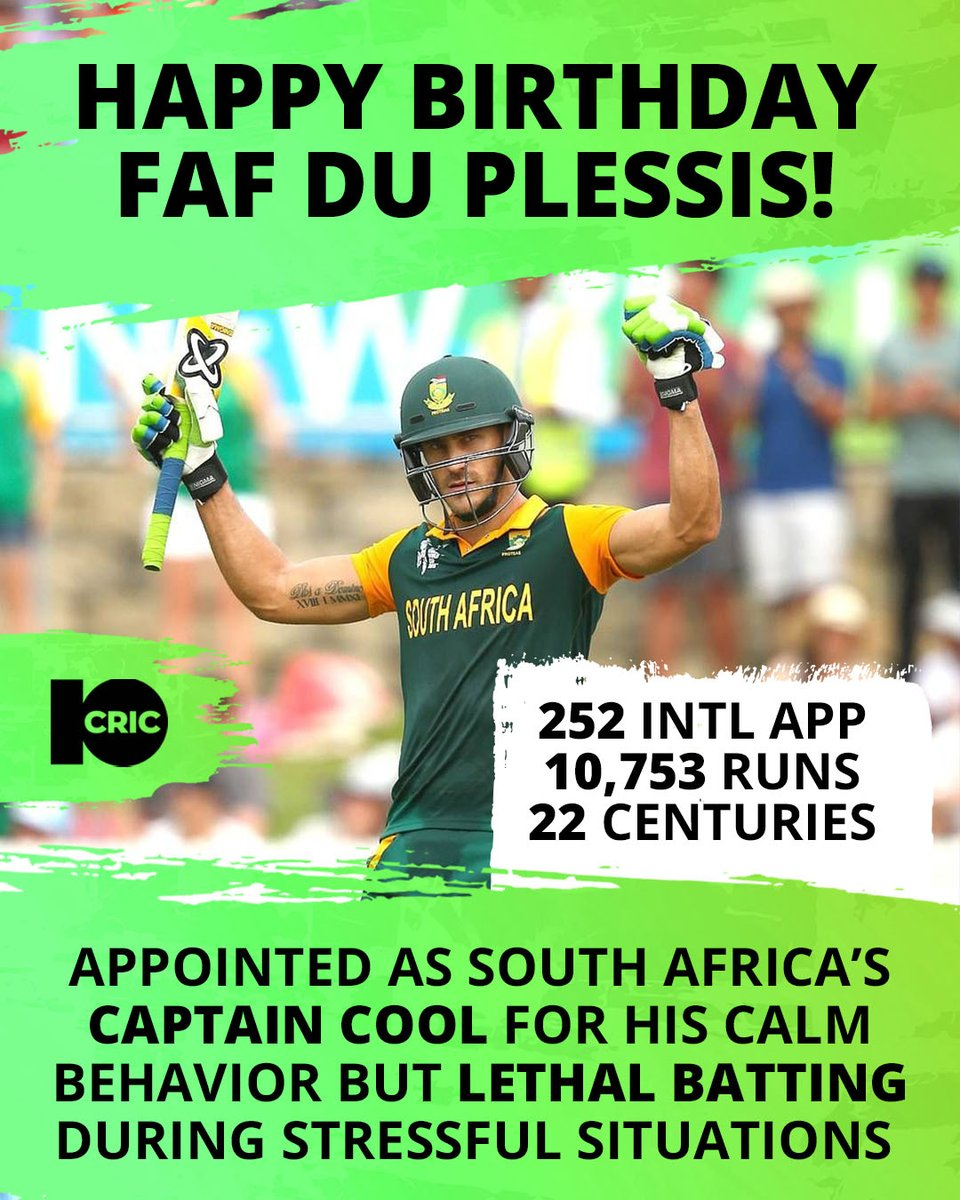 🏆 #FafDuPlessis is currently the only player in the history of #cricket to have played 100 consecutive international innings without getting dismissed for a duck from his debut https://t.co/0A52ROjlqK