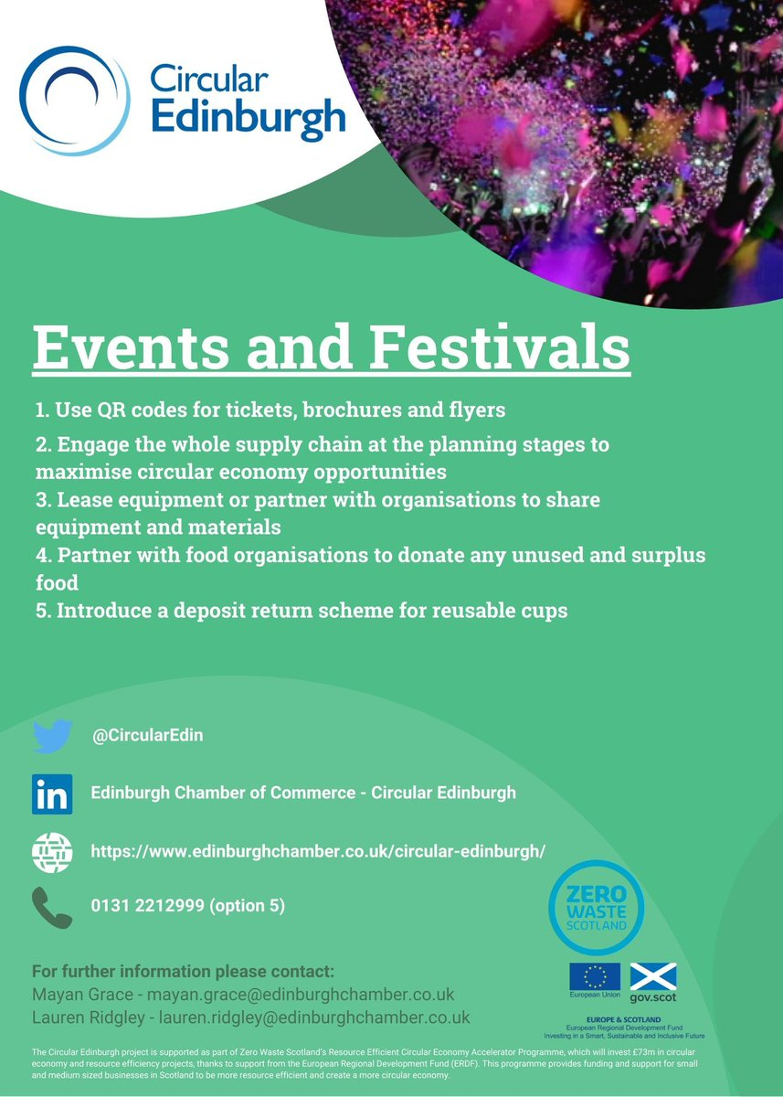 Check out these 5 #TopTips to help companies in the Event and Festival Sector to implement more sustainable and circular practices! Find out how the Circular Edinburgh team can support your business here: https://t.co/o9CQ2xB0aY @ZeroWasteScot @EdinChamber #ESIF #circulareconomy https://t.co/sXFDG7K6xf
