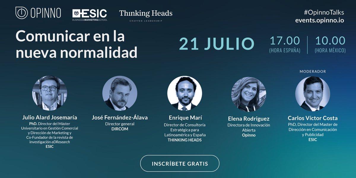 📣 Todavía puedes unirte a #OpinnoTalks para conocer de mano de grandes expertos la nueva #comunicación basada en emociones que nos deja la #COVID19 👉 Inscríbete aquí: https://t.co/nNPyX20ian 🗓️ Martes 21 de julio a las 17.00 (hora Madrid) https://t.co/VQ9FfLZDKM