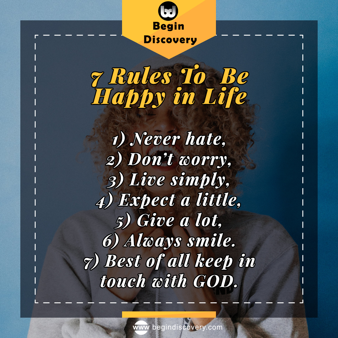 7 Rules - Be Happy  #quotes #love #quoteoftheday #motivation #quote #life #quotestoliveby #motivationalquotes #inspiration #lifequotes #quotesdaily #success #begindiscovery #zohair #thoughts #positivevibes #loveyourself #happiness https://t.co/98EAQuAAYV
