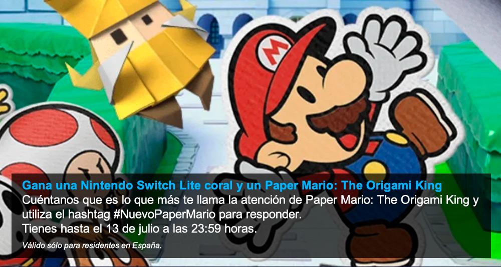 ¡CONCURSO! Síguenos + RT y comenta con el hashtag #NuevoPaperMario qué es lo que más te llama la atención de Paper Mario: The Origami King para ganar una Nintendo Switch Lite coral  y una copia del juego! ¡Tienes hasta las 23:59!