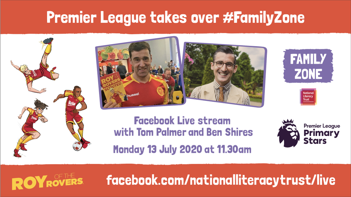 Don't miss our Facebook Live stream today at 11.30! #RoyoftheRovers author @tompalmerauthor and TV presenter @BenShires have an exciting announcement for kids who love football https://t.co/kOzh96ZGha @PLCommunities https://t.co/LblU06jS79