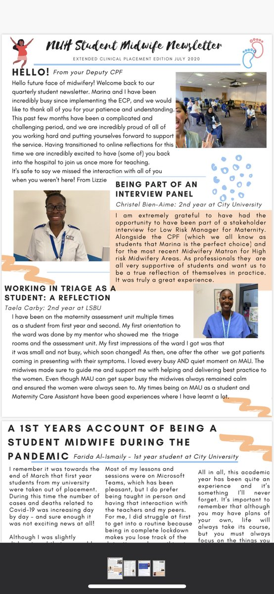 Our next edition of the NUH Student Midwife Newsletter //ECP edition is officially out!! Thank you to all the incredible students who took part- this is the result 😍⭐️@NUHmaternity @NHSBartsHealth #StudentMidwife https://t.co/00A2WwHfFz
