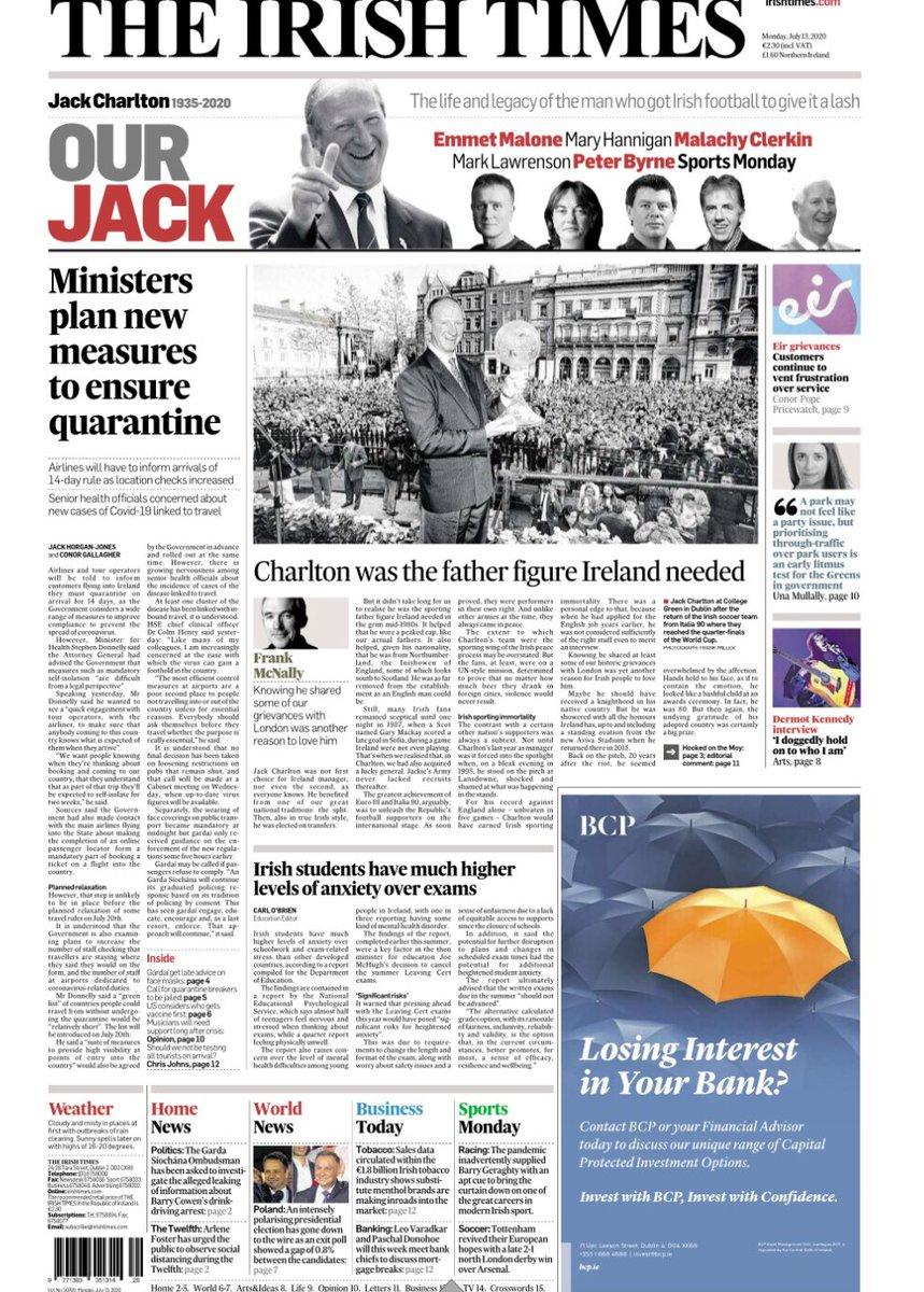 'Our Jack' Front page of today's Irish Times #COYBIG #MOT https://t.co/8c5cd79nKx