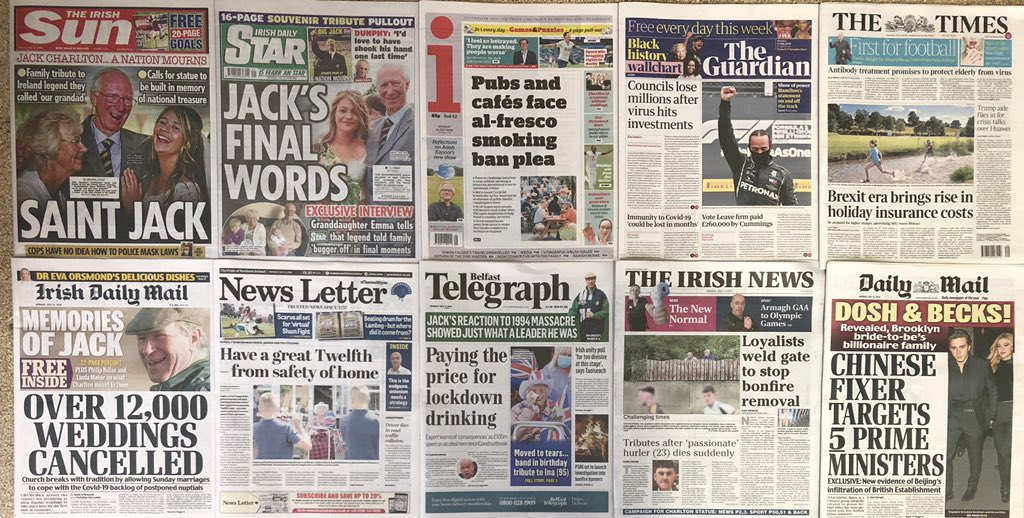 MONDAY HEADLINES.....IMMUNITY TO COVID-19 'COULD BE LOST IN MONTHS'......PUBS AND CAFES FACE AL-FRESCO SMOKING BAN PLEA......VOTE LEAVE FIRM PAID £260,000 BY CUMMINGS.....PAYING THE PRICE FOR LOCKDOWN DRINKING.....SAINT JACK.....#BuyANewspaper #SocialDistanacing https://t.co/lFHdAxKNiP