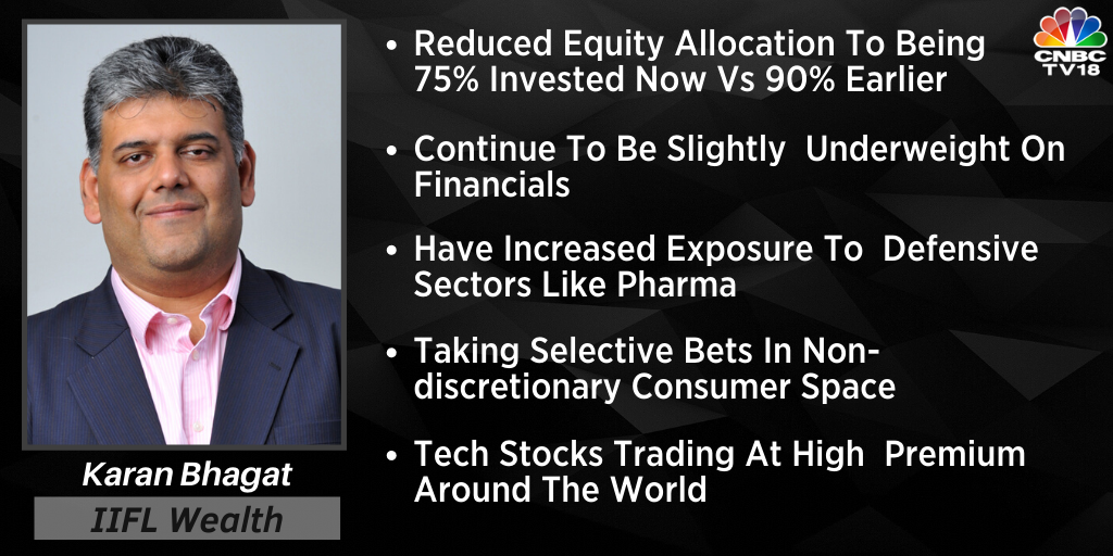 #KaranBhagat says have increased exposure to defensive sectors like #Pharma. He also says that he is taking selective bets in non-discretionary consumer spacepic.twitter.com/H5o5sSQxgt