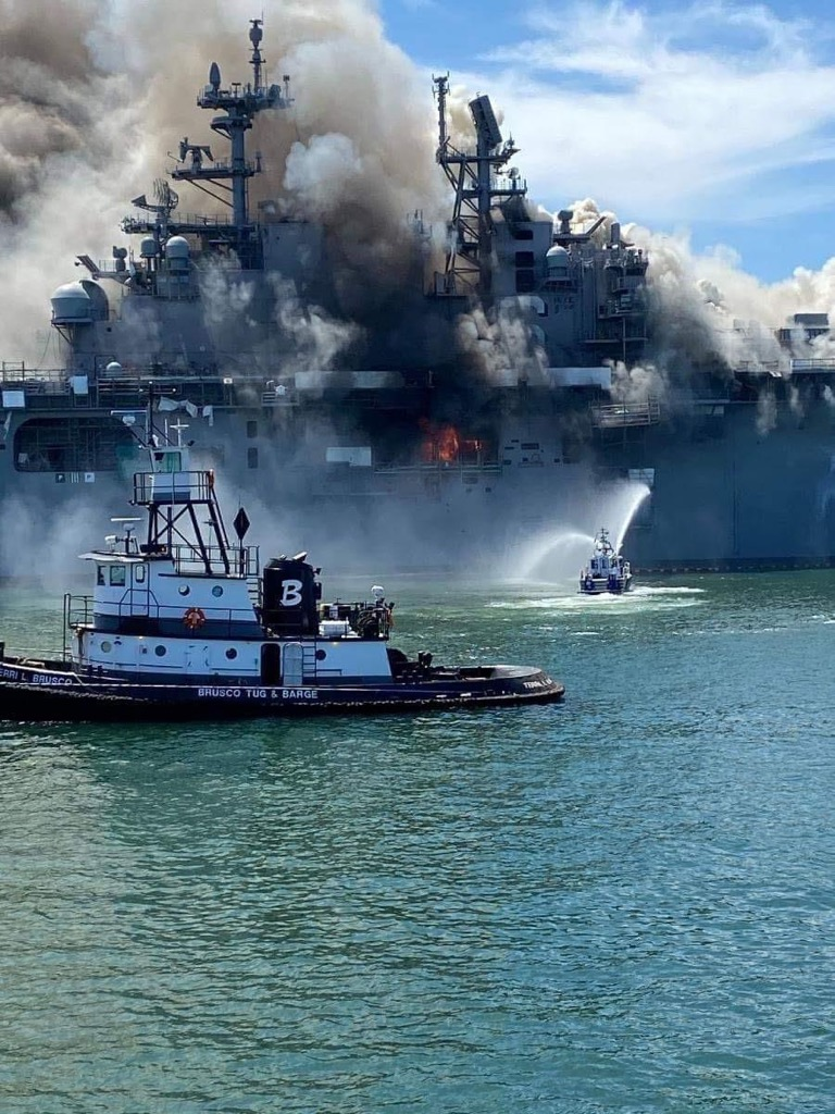 So heres pictures of the Navy ship burning in San Diego. Last checked its still burning.