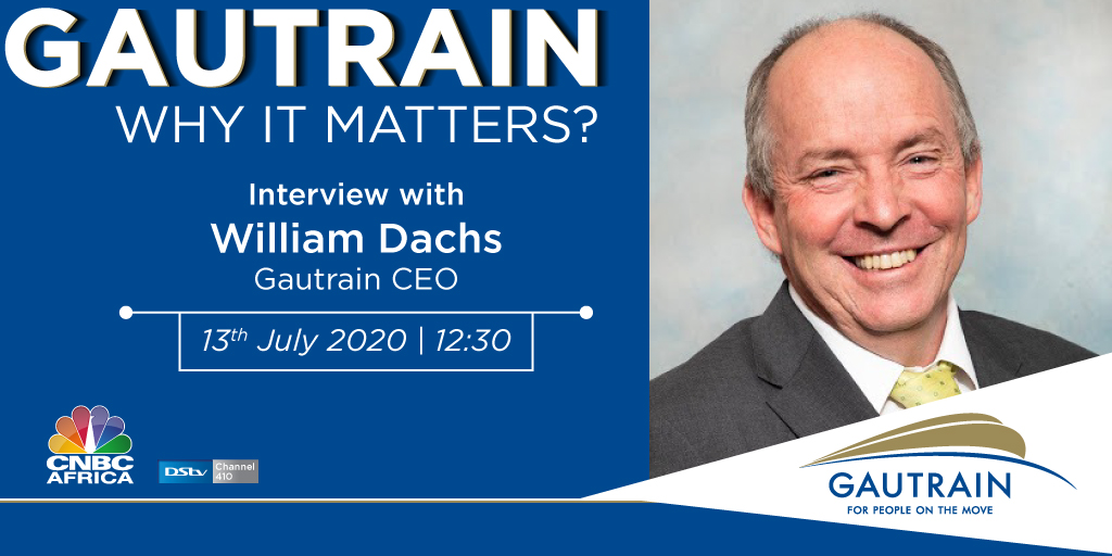 Be sure to tune in to #CNBCAfricaat 12:30pm CAT today! The CEO of @TheGautrain, William Dachs, will be talking about Gautrain's journey to ensure safe travels for all who use the system during the #Covid19 pandemic. #DSTV410   #GautrainJourneys #WhyItMatters #Gautrain https://t.co/SyHoEKr2eA