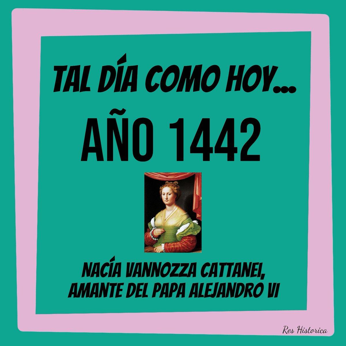 Tal día como hoy... 13 de julio de 1442 nació Vannozza Cattanei, amante del papa Alejandro VI (el valenciano Rodrigo Borgia). Tuvo cuatro hijos legítimos, entre ellos César y Lucrecia Borgia #edadmoderna #edadmedia #papa #iglesia #historia #taldíacomohoy #efemérides #curiosidades https://t.co/cWMlZe4anF