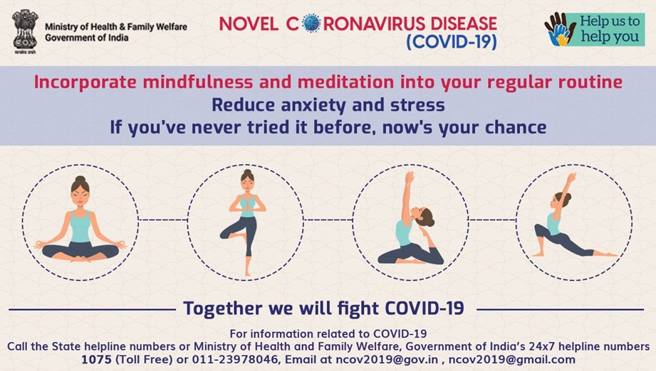 Taking care of your mental health is the most important.   Let us be kind to ourselves and try to include yoga and meditation to reduce the stress.   For concerns related to mental health, call NIMHANS 08046110007.    #IndiaFightsCorona https://t.co/HgD0Y7JK49