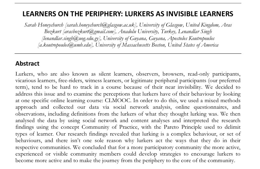 #PauseForThought #Article: Learners on the Periphery: #Lurkers as #Invisible #Learners by Sarah Honeychurch et al. #Online #Bimodal #HigherEducation #Discussion https://t.co/R5kGHnIlT3 https://t.co/PrugnxU5Al