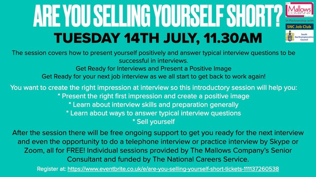 📢BOOK NOW!💻You only have until midnight to book your free place on our #SNCJobClub webinar👉Are You Selling Yourself Short? Learn to present yourself positively & make a perfect first impression - https://t.co/TEKpxAEJpw https://t.co/u0i5Z71pOv
