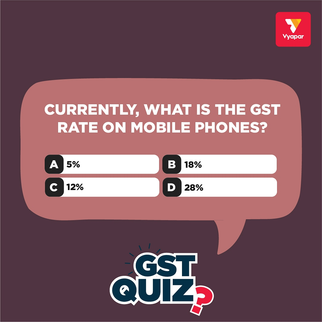 ContestAlert   All you have to do is:   Comment your answer below.  RT  Follow us on Instagram- https://instagram.com/vyaparapp    #quiz #polloftheday  #QuestionOfTheDay #QuizTime #questiontime #Contest #contestalert #giveaway #giveawaycontest #contestgiveaway #mobile #gstpic.twitter.com/AFkyd5Hel2