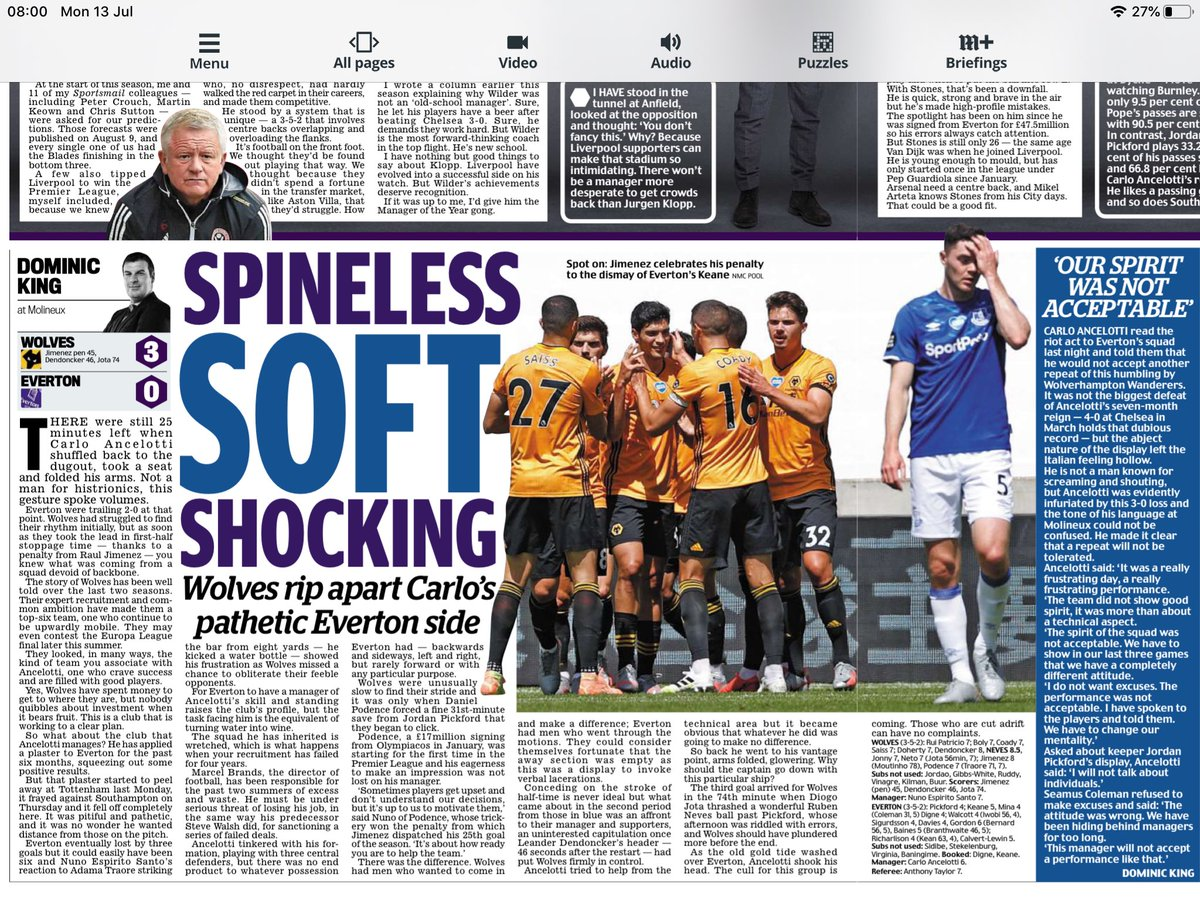 No fight, no desire, no application. The disconnect between this Everton team and its fans is huge. Wolves are everything Carlo Ancelotti would want his side to be (print version of report) 🔵🟡 https://t.co/5qiiX1j7K8