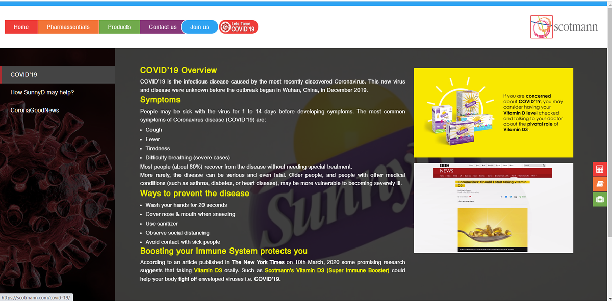"Scotmann pharmaceuticals launches ""LETS TAME COVID-19"" portal to spread the awareness about the disease as well as possible ways of preventing it. https://scotmann.com/covid-19  #vitaminD #sunlight #natural #healthylifestyle #healthyliving #immunehealth #immunebooster #pakistanpic.twitter.com/FDxdc0hXqn"