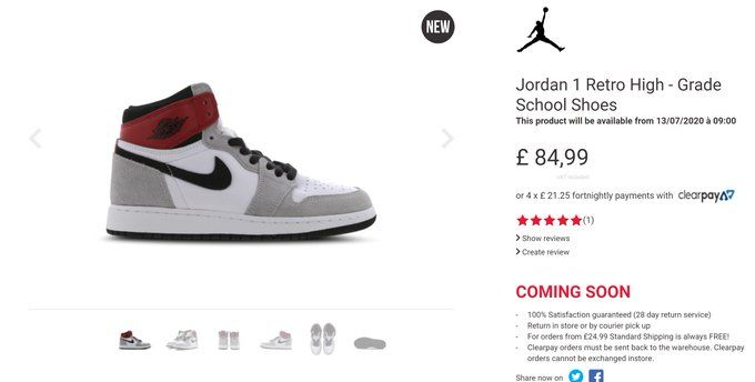 The Sole Womens On Twitter Jordan 1 High Og Gs Light Smoke Grey Is About To Restock At Foot Locker Link Https