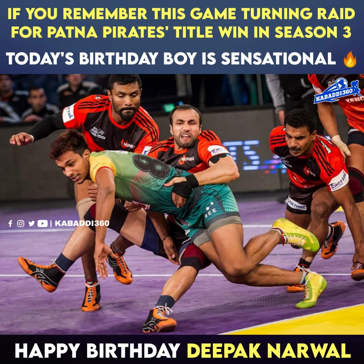 Wishing the formidable raider from PKL with more than 300 raid points, happy birthday Deepak Narwal!  #DeepakNarwal #HappyBirthday #Kabaddi360