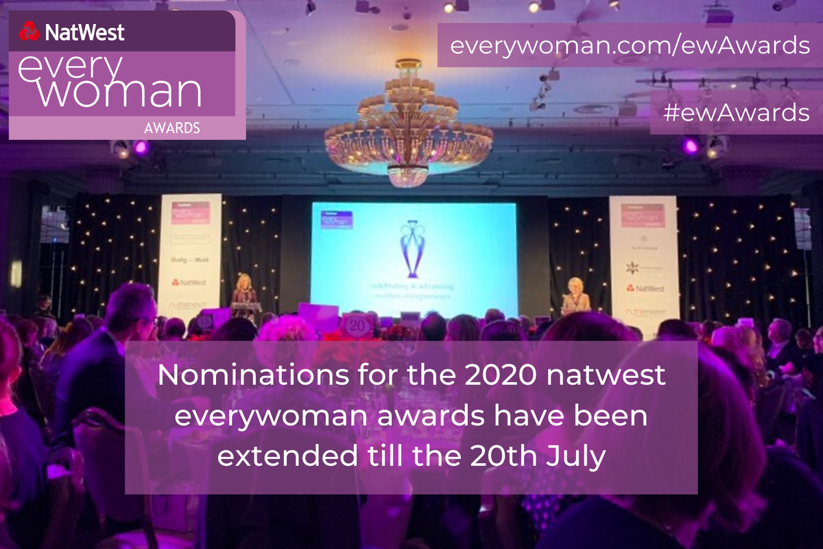 Final Week Remaining Nominate an inspiration #FemaleEntrepreneur for the 2020 @NatWestBusiness Awards and help inspire the next #FemaleFounders. https://t.co/a87Sx9QdGB #ewAwards #WomeninBusiness https://t.co/LgMd8rNYyo