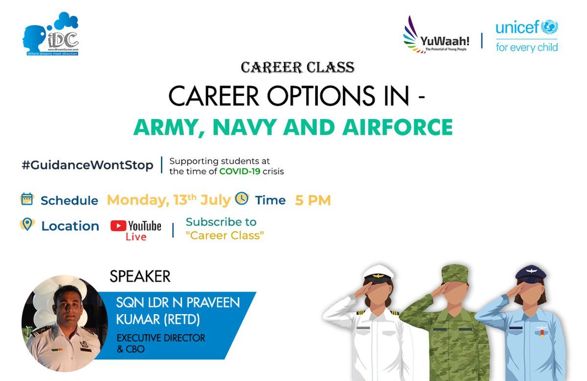 Have a passion to be a part of the #armed #forces? Join today's session exploring career options in the Indian #Army, #Navy, and #AirForce, with Sqn Ldr N Praveen Kumar (Retd).  Today 5pm at   Organised by @idreamcareer, supported by @UNICEFIndia