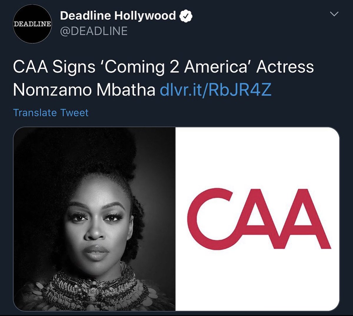 Halala👏🏾👏🏾👏🏾 Another win for actress #NomzamoMbatha as she signs with Los Angeles based talent agency CAA, which is renowned for working some of the biggest names in Hollywood and now they add Nomzamo to their roster.🇿🇦 #RealGoboza https://t.co/E4x1EurCOe