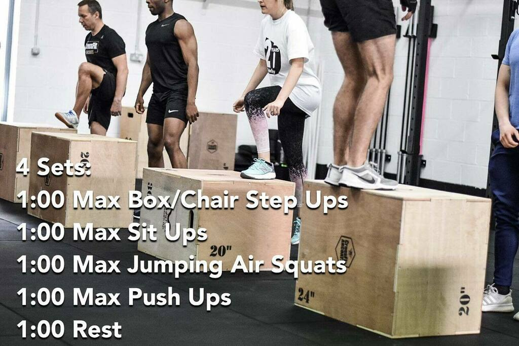 Home workout Complete as many reps as possible of each exercise each minute.  4 Rounds: 1:00 Max Box/Chair Step Ups  1:00 Max Sit Ups  1:00 Max Jumping Air Squats  1:00 Max Push Ups  - Rest 1 Minute- . #crossfit #ancoats #homeworkout #fitness #wellness #… https://instagr.am/p/CCku8HOHWML/ pic.twitter.com/23IxJ9QxPt