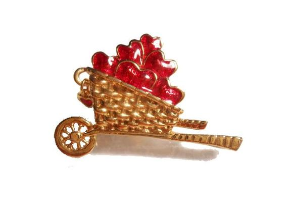 Red hearts cart brooch Avon red hearts in gold tone cart brooch pin with little red charm 1992 #etsy #jewelry #vintage https://t.co/wrk2DXQwtI