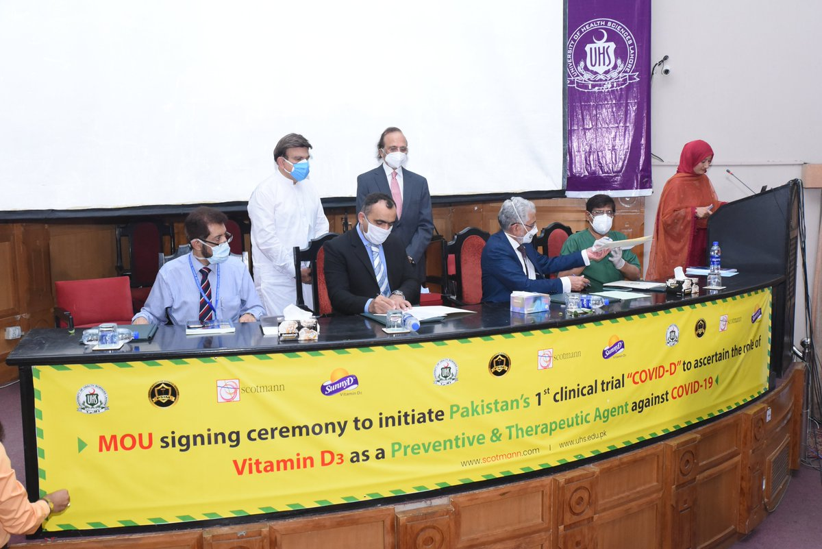 "MOU signing ceremony to initiate Pakistan's 1st clinical trial ""COVID-D"" to ascertain the role of Vitamin D3 as a Preventive & Therapeutic Agent against COVID-19.  #vitaminD #healthyliving #immunebooster #pakistan #scotmann #sunnyD #nust #covid19 #covidnews #success #universitiespic.twitter.com/gjfTCE92TC"