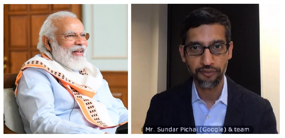 PM Modi interacts with Google CEO Sundar Pichai ahead of $10 billion India Digitation Fund announcement by Google