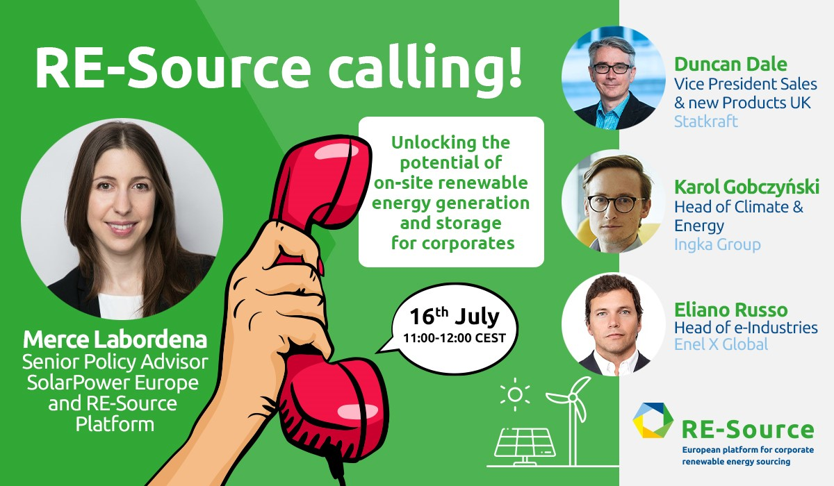 RE-Source Calling!📞 ⚡How do we unlock the potential of on-site renewable energy generation and storage for corporates? ➡️Join @EnelXGlobal, @IngkaGroup, @SolarPowerEU & @StatkraftUK on Thurs. 16th July 11:00-12:00 CET for an engaging interactive webinar👉bit.ly/2W1xHFj