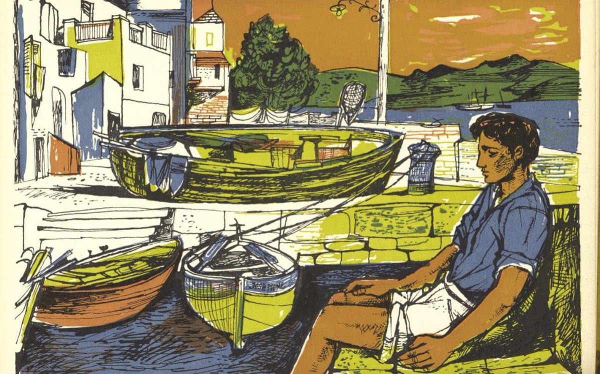 Realising people might not know who John Minton is so for context, here's the saddest illustration of a man next to some boats you will ever see. https://t.co/DiZBogQ1aj