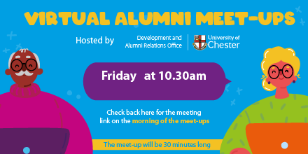 Join us for this week's Virtual Alumni Meet-Up on Friday at 10.30am ☕ You should have received the link & password in our Alumni Community Update newsletter. Please email alumni@chester.ac.uk to be added to the mailing list 🔒 https://t.co/ciL3S2jM06