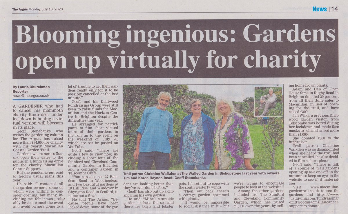 Nice half page in  @brightonargus today on page 14 about @MacmillanTrail and our fundraising for @macmillancancer @MacmillanSE https://t.co/0933kadIQS #sussex #gardening #charity https://t.co/PXoCH6WROn