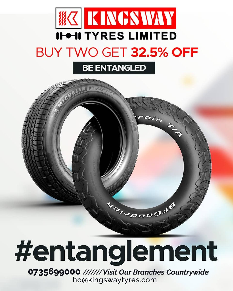 "Get entangled with @kingswaytyreske and their ""Buy Two Get 32.5% Off"" offer on tyres. You deserve to feel good on the road 😁 Visit them at Village Market or call them on 0735 699 000 #VMessentials https://t.co/EAEE9Jikj0"