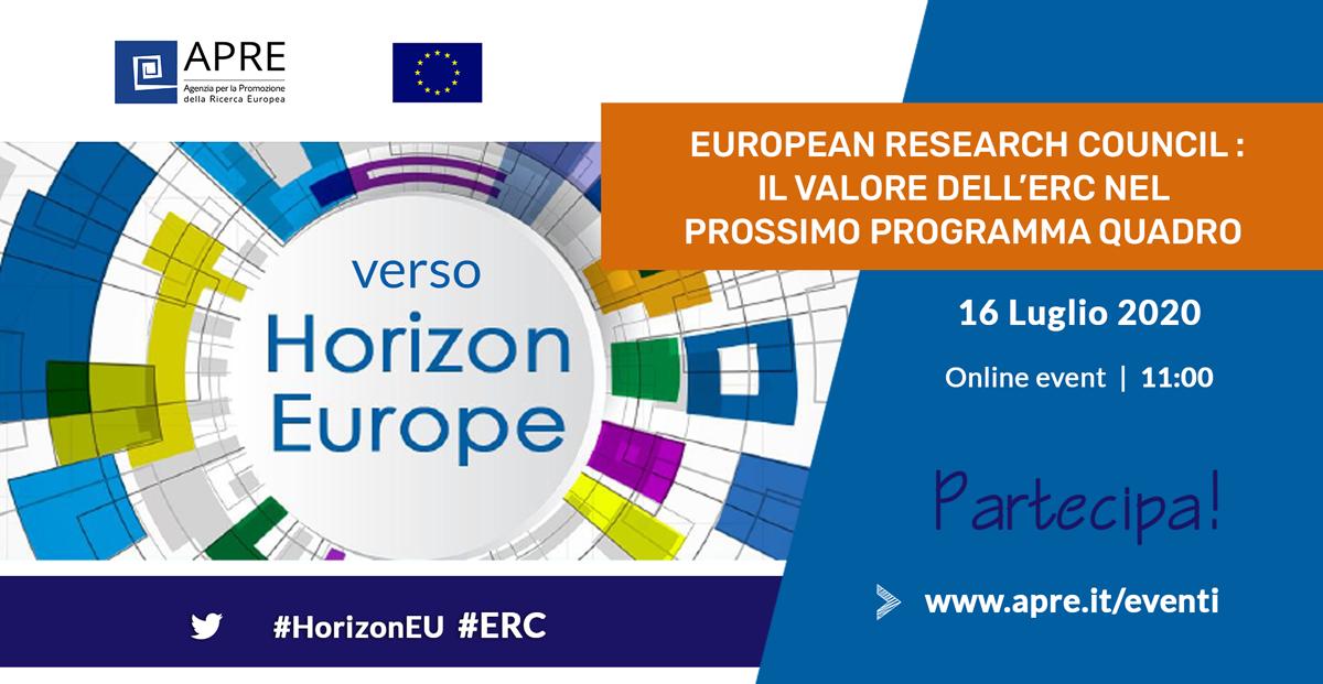 🆕 Evento | #versoHorizonEU: EUROPEAN RESEARCH COUNCIL. Il valore dell'ERC nel prossimo programma quadro #HorizonEU 👇 La comunità italiana R&I cosa ne pensa? Qual è il ruolo dell'#ERC per i ricercatori italiani? 🗓️ 16/07 | 11:00 🌐 on line.  Info&Reg ▶️ https://t.co/LNRYTiIB4s https://t.co/hnNkgu4z8B