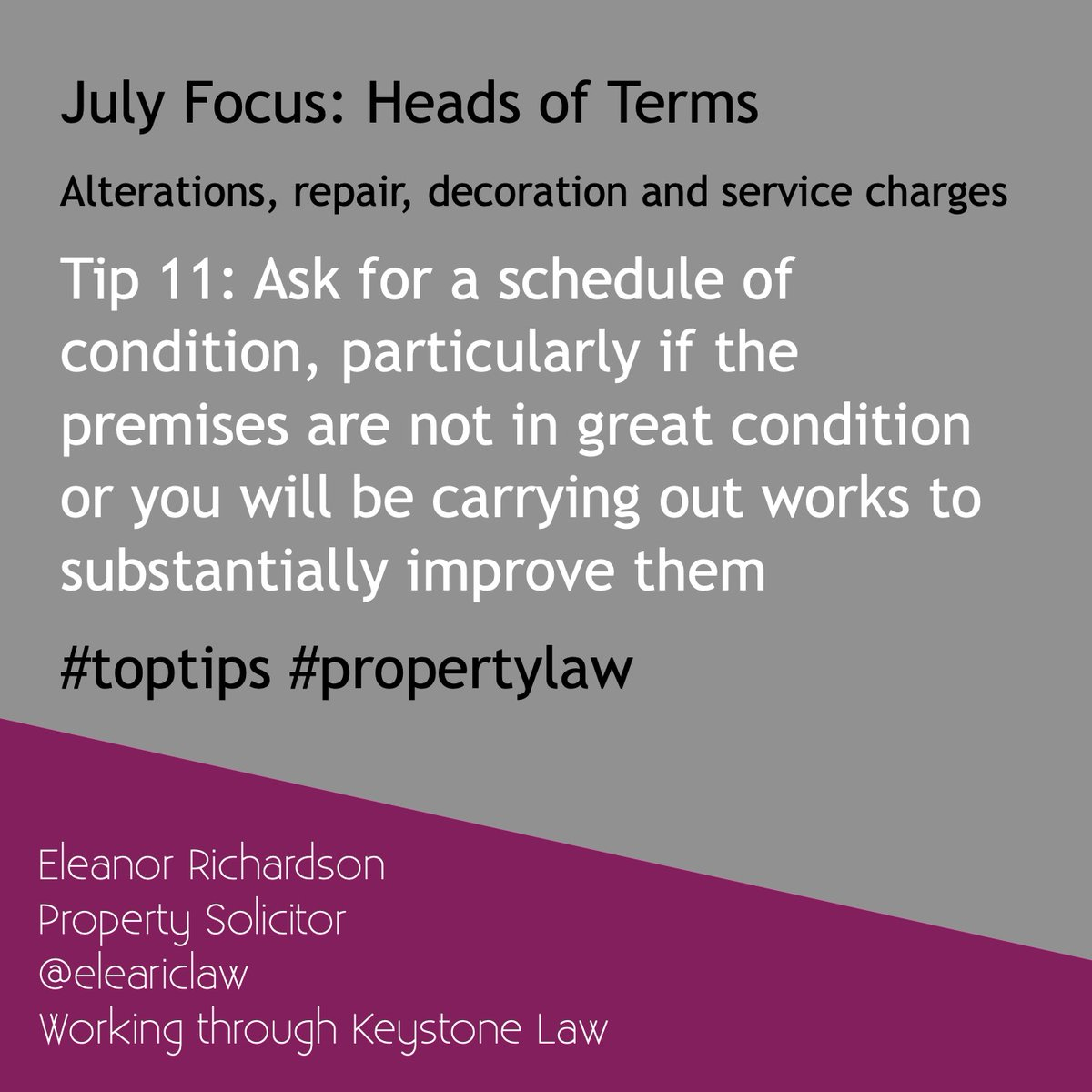 Tip 11: Ask for a schedule of condition, particularly if the premises are not in great condition or you will be carrying out works to substantially improve them #HOT #toptips #alterationsandrepair #headsofterms #ukpropertylaw #propertylaw https://t.co/S5GmynqXb2