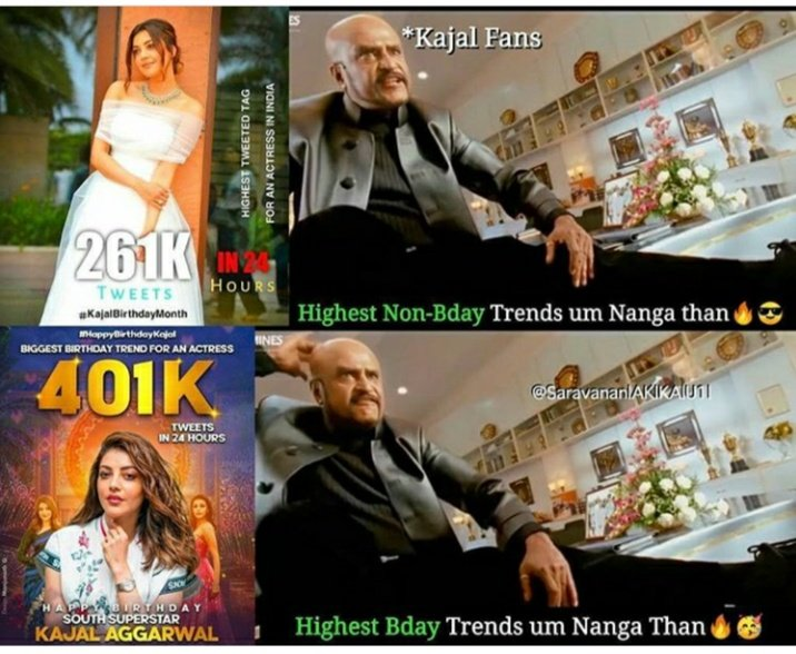 The highest non- http://b.day trend & Highest http://b.day trend for an actress @MsKajalAggarwal-THE superstar of Indian cinemaQUEEN OF MANY HEARTSpic.twitter.com/vkJhDuot7I