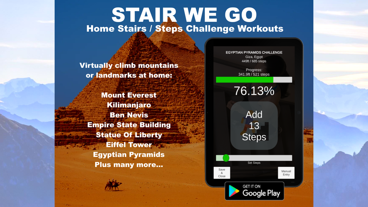 Free to try: can YOU climb a mountain or landmark at home? Many are right now.  Play Store: https://play.google.com/store/apps/details?id=com.AnyKeySolutions.stairwego …  #stairwego #homeworkout #homefitness #stairschallenge #stairworkout #stairsworkout #stairchallenge #Covid_19 #CheckChangeGo #harvey #under10kgang #MondayMotivationpic.twitter.com/wjcy96cFdW
