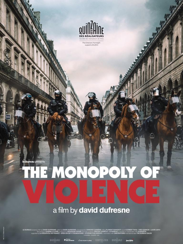Et voici l'affiche internationale #UnPaysQuiSeTientSage / #TheMonopolyOfViolence  photo: @MaximeReynie affiche: Patrick Tanguy https://t.co/vzZmZNFFBg