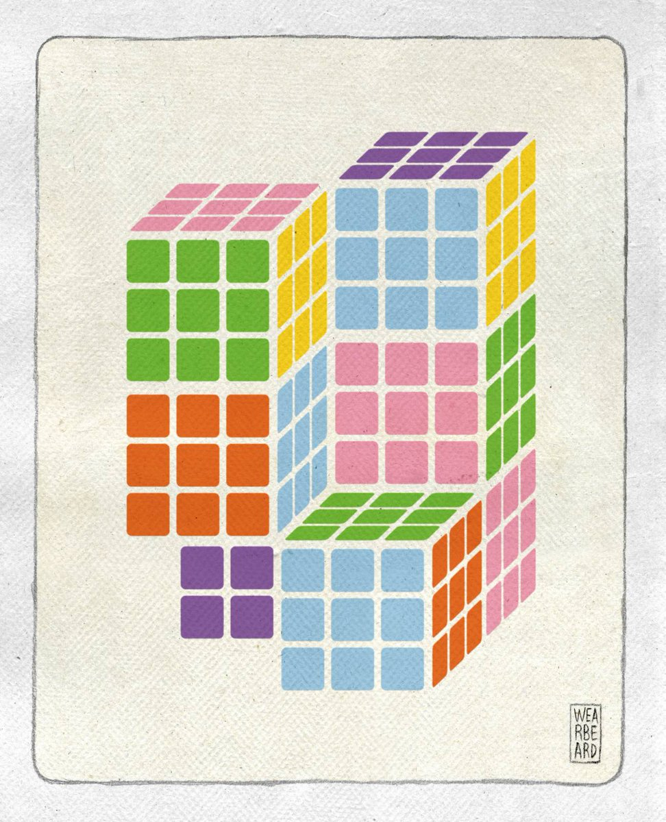 #TalDíaComoHoy de 1974 Erno Rubik diseñó su famoso cubo, un rompecabezas mecánico tridimensional #Efeméride #CienciaIlustrada @wearbeardtweets https://t.co/J019SilOn3
