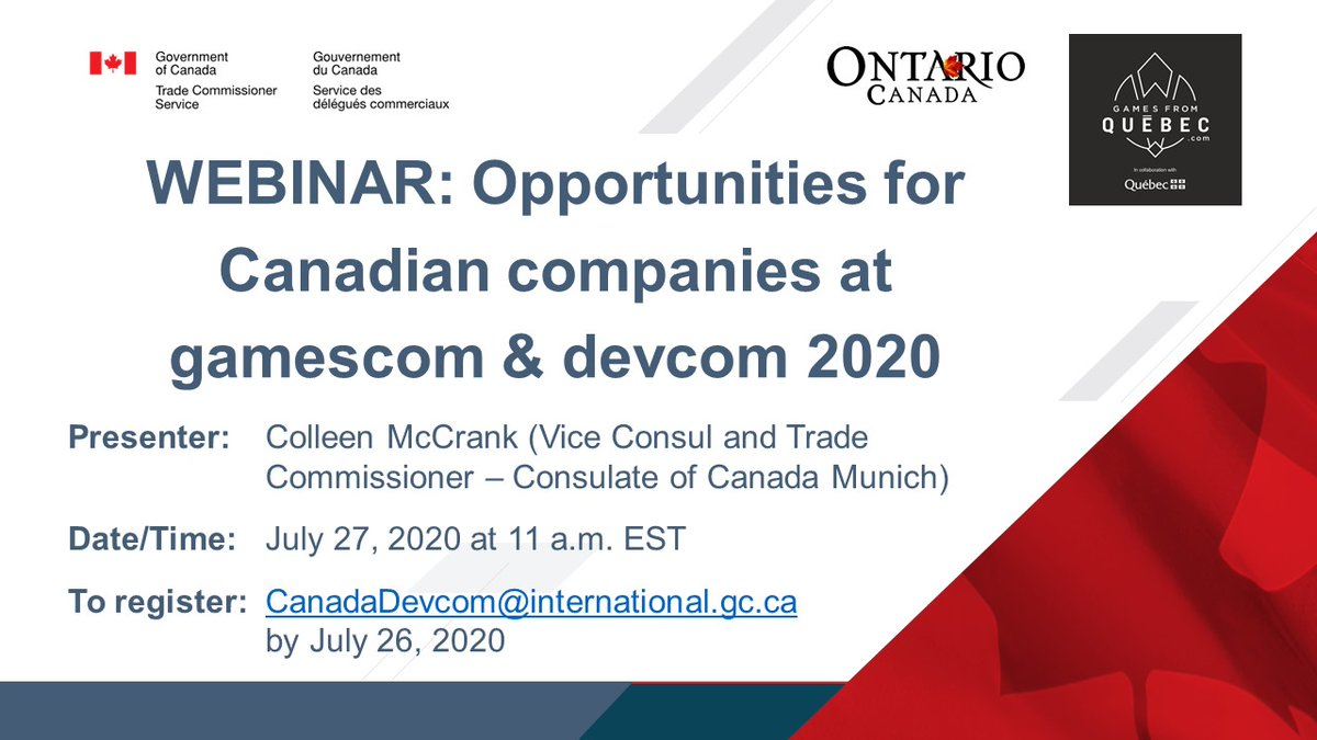 Attention Canadian #videogaming companies: Please join us to learn more about this year's @gamescom / @Devcom_conf, #Canada's virtual presence, and opportunities and supports for Canadian companies at #gamescom2020 and #ddc2020 https://t.co/oXZsIbwDxG