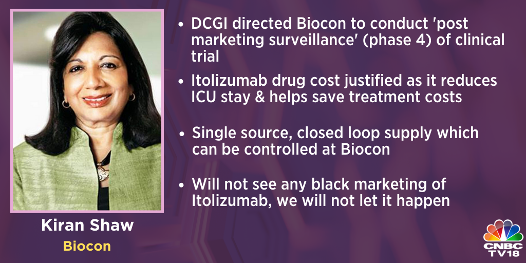 .@Bioconlimited's @kiranshaw says after early results started coming out, doctors started using Itolizumab 'off-label'… Encouraging feedback from doctors about good efficacy of Itolizumab.  Will not see any black marketing of #Itolizumab, we will not let it happen, she adds. https://t.co/VVr3gSq7JK